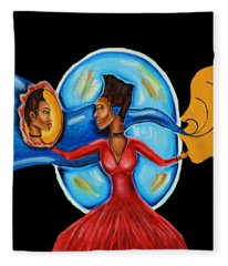 African Goddess Lady In Red Afrocentric Art Mother Earth Black Woman Art Fleece Blanket