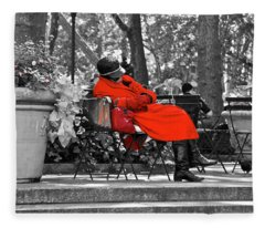 Lady In Red Fleece Blanket