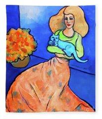 Lady With Blue Cat Fleece Blanket