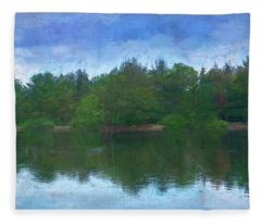Lake And Trees Fleece Blanket