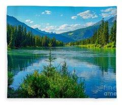 Lake At Banff Indian Trading Post Fleece Blanket