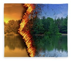 Lake Forest Fire Fleece Blanket
