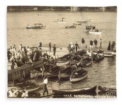 Lake Hopatcong Yacht Club Dock - 1910 Fleece Blanket