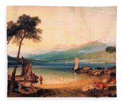 Lake Leman And Mont Blanc - Digital Remastered Edition Fleece Blanket