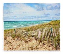 Lake Michigan Beachcombing Fleece Blanket