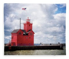 Lake Michigan Light House Fleece Blanket