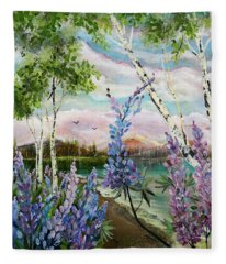 Lakeside Lupin Fleece Blanket