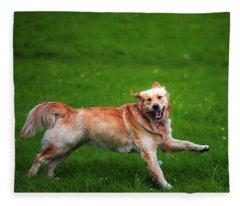 Lalala Happy Sunday. Golden Retriever Fleece Blanket