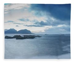 Landscape In The Lofoten Islands Fleece Blanket
