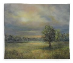 Landscape Of A Meadow With Sun And Trees Fleece Blanket