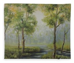 Landscape Of The Great Swamp Of New Jersey With Pond Fleece Blanket