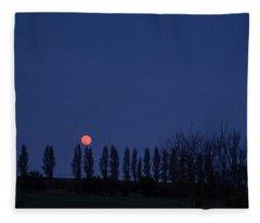 Landscape Red Moon Photo 15 Fleece Blanket