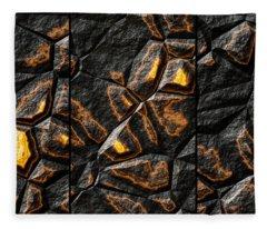 Large Gold Stone Triptych Fleece Blanket