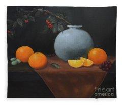 Large Vase With Oranges Fleece Blanket