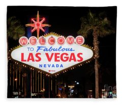 Las Vegas Sign At Night Fleece Blanket