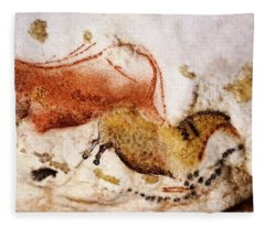 Lascaux Cow And Horse Fleece Blanket