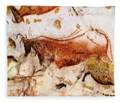 Lascaux Cow And Horses Fleece Blanket