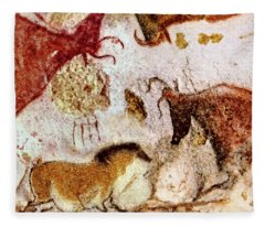 Lascaux Horse And Cows Fleece Blanket