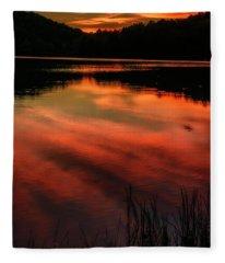 Last Light At The Lake Fleece Blanket