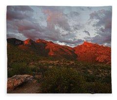 Last Light On Catalina Mountains Fleece Blanket