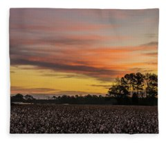 Late Fall In The Cotton Field Fleece Blanket