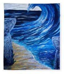 Latte Stones And Wave Fleece Blanket