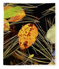 Leaf In Pond Fleece Blanket