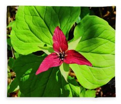 Leafy Red Trillium Fleece Blanket
