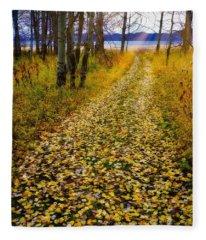 Leaves On Trail Fleece Blanket