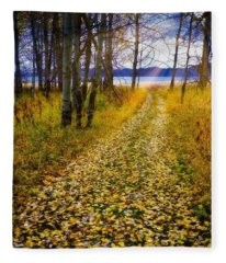 Leaves On Trail Fleece Blanket