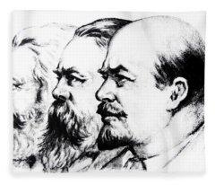 Left To Right Karl Marx Friedrich Engels Vladimir Lenin Fleece Blanket