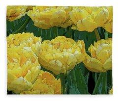 Lemony Yellow Tulips Fleece Blanket
