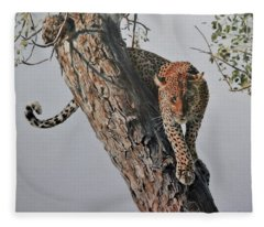 Leopard In Tree Fleece Blanket