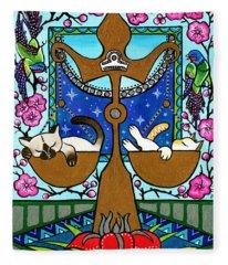 Libra Cat Zodiac Fleece Blanket