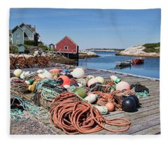 Life Of A Fisherman In Peggy's Cove Fleece Blanket