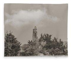 Light In The Distance Bald Head Island Lighthouse Fleece Blanket