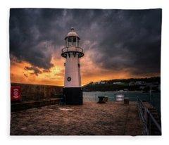 Lighthouse Dramatic Sky Fleece Blanket