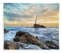Lighthouse In Ahtopol, Bulgaria Fleece Blanket