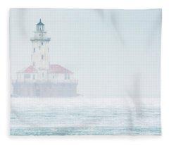 Lighthouse In The Mist Fleece Blanket