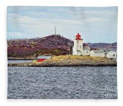 Tyrhaug Fyr Lighthouse Near Kristiansund Norway Fleece Blanket