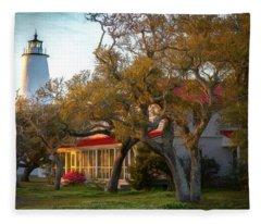 Lighthouse Ocracoke Island Fleece Blanket