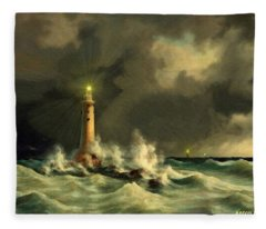Lighthouse Weathering A Storm After The Original Painting By Anton Melbye L A S Fleece Blanket