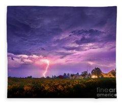 Lighting Maine Farm Fleece Blanket
