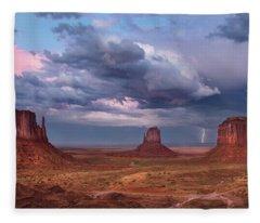 Lightning Across The Valley    Fleece Blanket