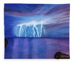 Lightning On The Sea At Night Fleece Blanket