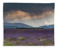 Lightning Over Lavender Field Fleece Blanket