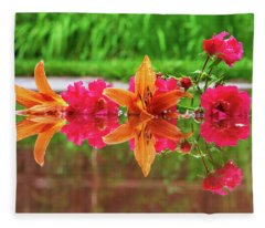 Lilies And Roses Reflection Fleece Blanket