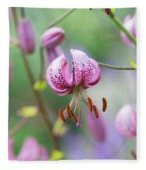 Lilium Martagon Flower Fleece Blanket