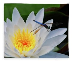 Lily And Dragonfly Fleece Blanket