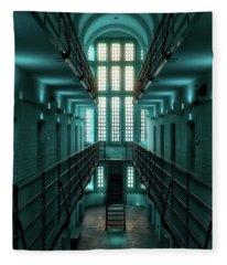 Lincoln Castle Prison In Blue Fleece Blanket